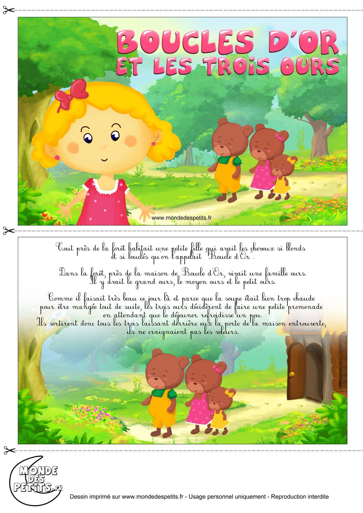 Histoire De Boucle D Or : histoire, boucle, Monde, Petits, Imprimer, Histoire, Enfant,, Conte, Livre, Coloriage