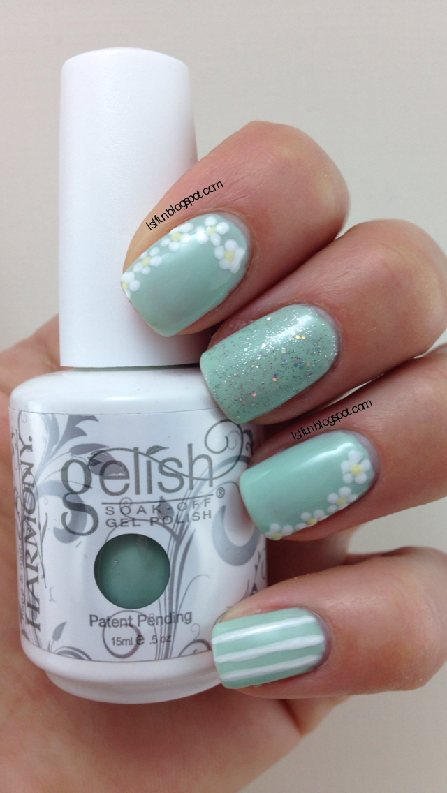 Spring Nail Art Using Gelish Kiss Me I\'m A Prince (Once Upon A Dream ...