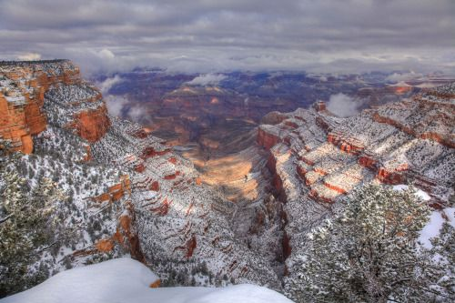 Snow coats the Grand Canyon in this gorgeous winter photo from a few years ago. For spectacular views of this geologic wonder, take Desert View Drive – a scenic 25-mile route on the South Rim of Arizona's Grand Canyon National Park. Photo from Pipe...
