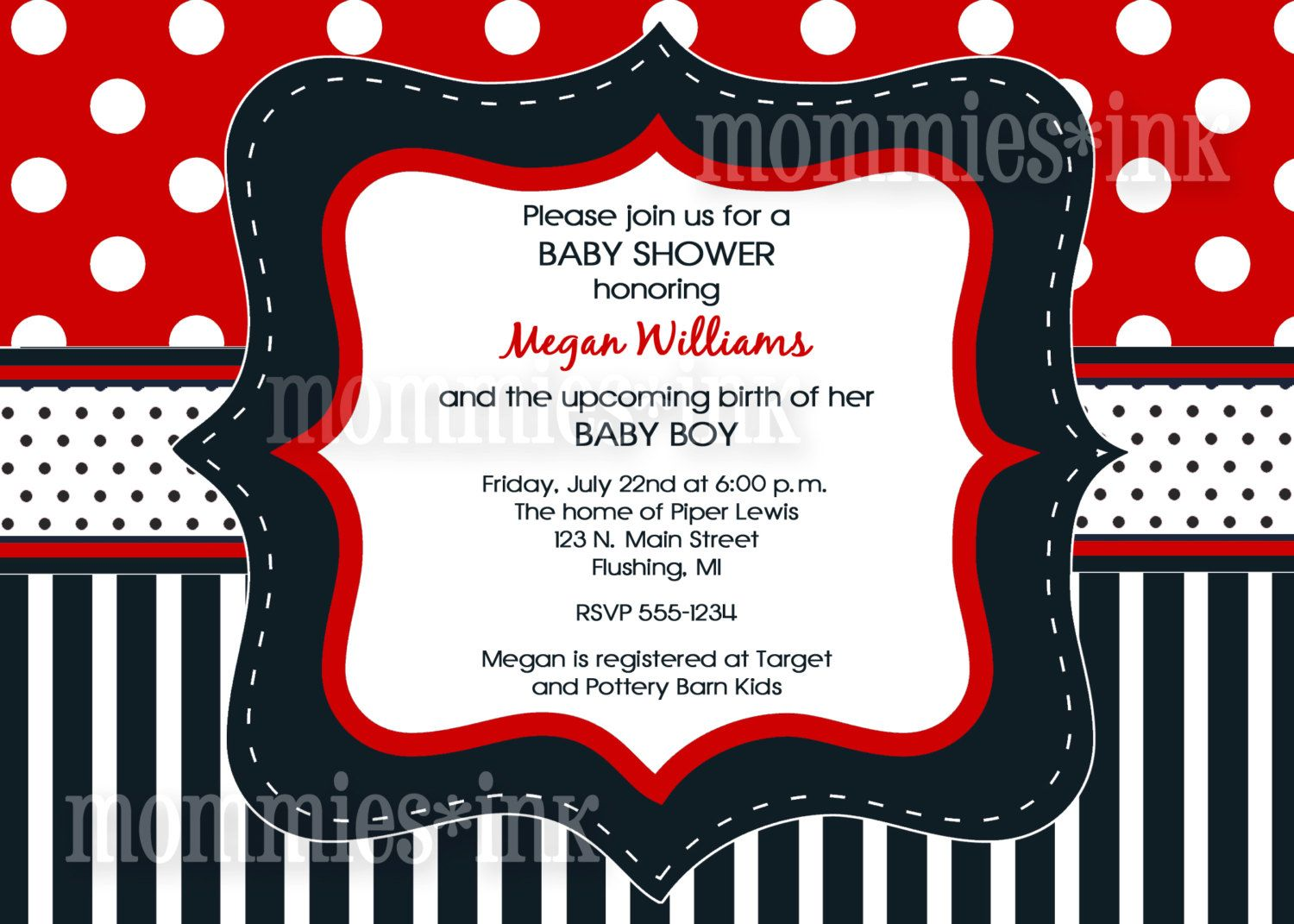 Red White and Navy Blue Baby Shower or Birthday Invitation - | Baby ...