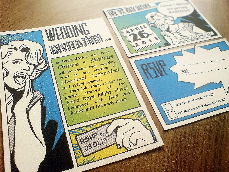 PRINTABLE Retro Comic Wedding Stationery Suite, Set of 3, BLUE ...