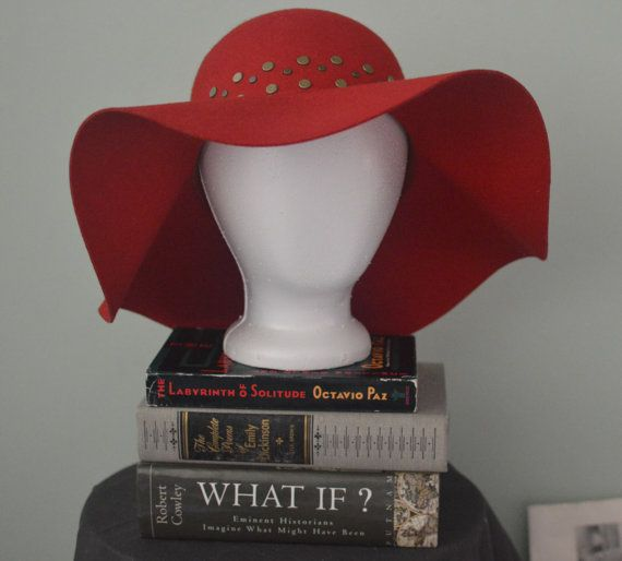 classic red wide brim floppy hat pure wool circular metal  6542983e0b02
