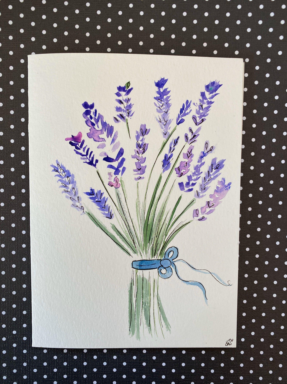 Watercolor Lavender Watercolor Flower Card Homemade Greeting Etsy Watercolor Flowers Card Flower Cards Homemade Greeting Cards