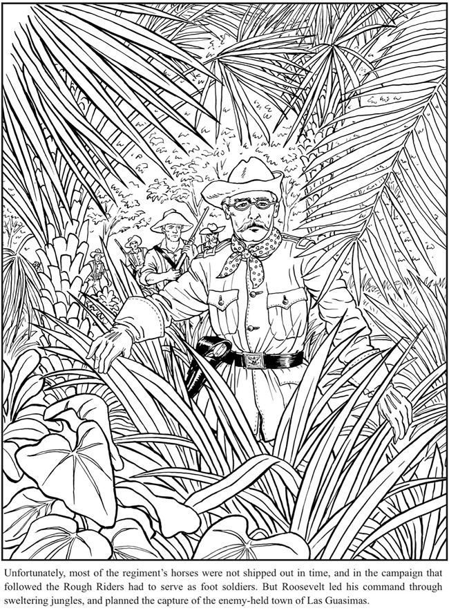 Teddy Roosevelt Coloring Book Dover Publications Adult Coloring