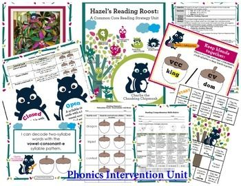 Phonics Intervention Bundle: Multisyllabic Words {Charlie Chunking Chipmunk} Awesome supplemental unit for reading intervention!