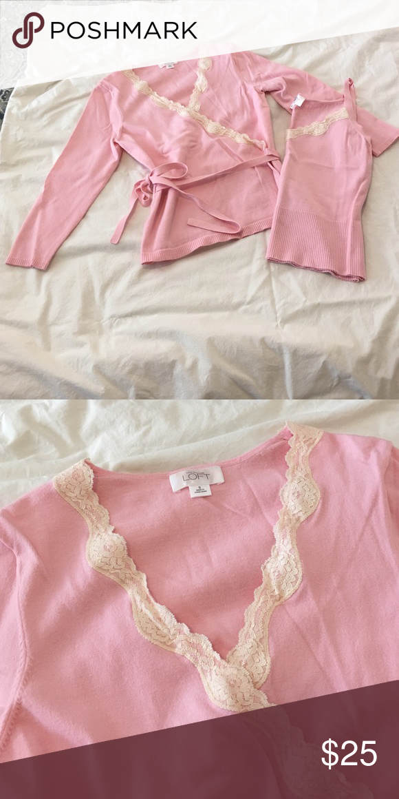 Light pink Ann Taylor Sweater Set. Size small Pale pink AT sweater set with cream lace trim. Gently used and in excellent condition. Ann Taylor Sweaters Cardigans
