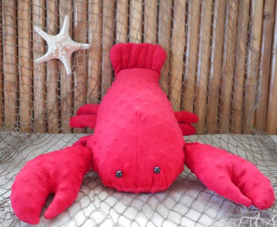 Lobster plushie lobster toy minky dot lobster by Fleeceofnature