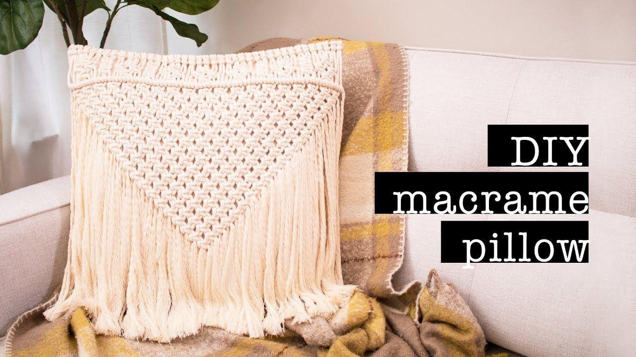 Diy Macrame Pillow No Sew Easy Youtube Macrame Diy Easy Sewing Macrame