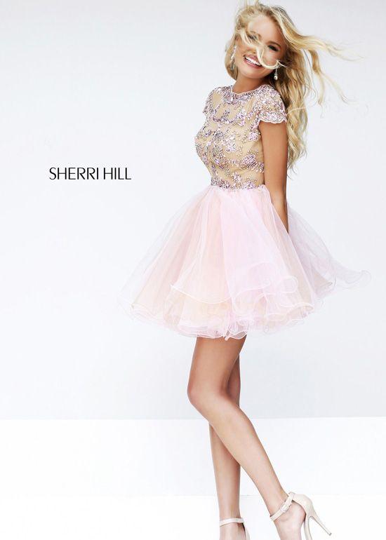 Sherri Hill 21304 - Nude/Blush Beaded Short Prom Dresses Online ...
