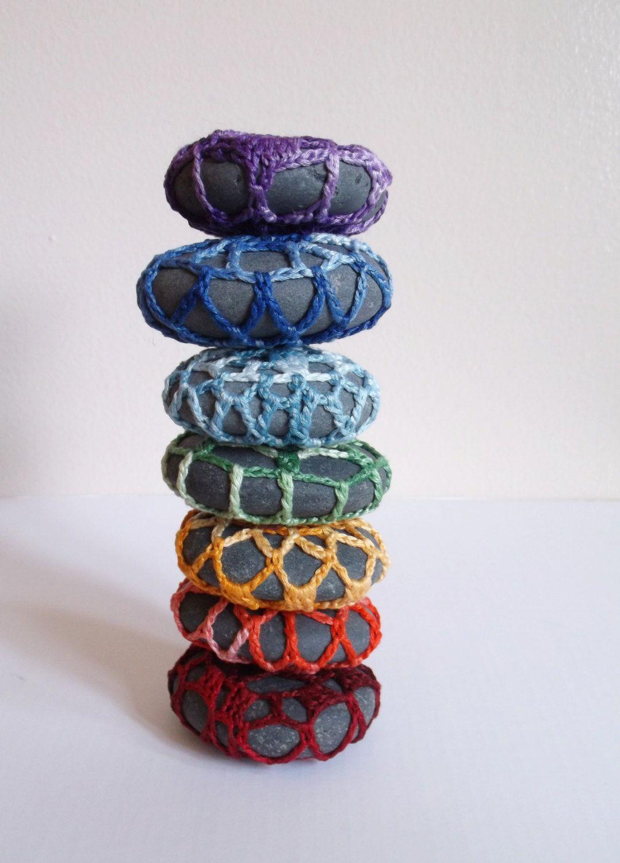 Rainbow Lace Stones Chakra Stones Chakra Rock Set Rainbow Rocks Hippie Gift Boho Decor Reiki Art Rock Stacking Stone Pile Pride Art