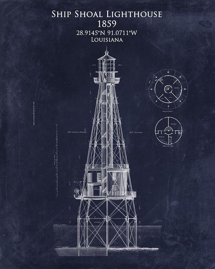 Ship shoal lighthouse blueprint art print 720900 blueprints ship shoal lighthouse blueprint art print 720900 blueprints pinterest malvernweather Images