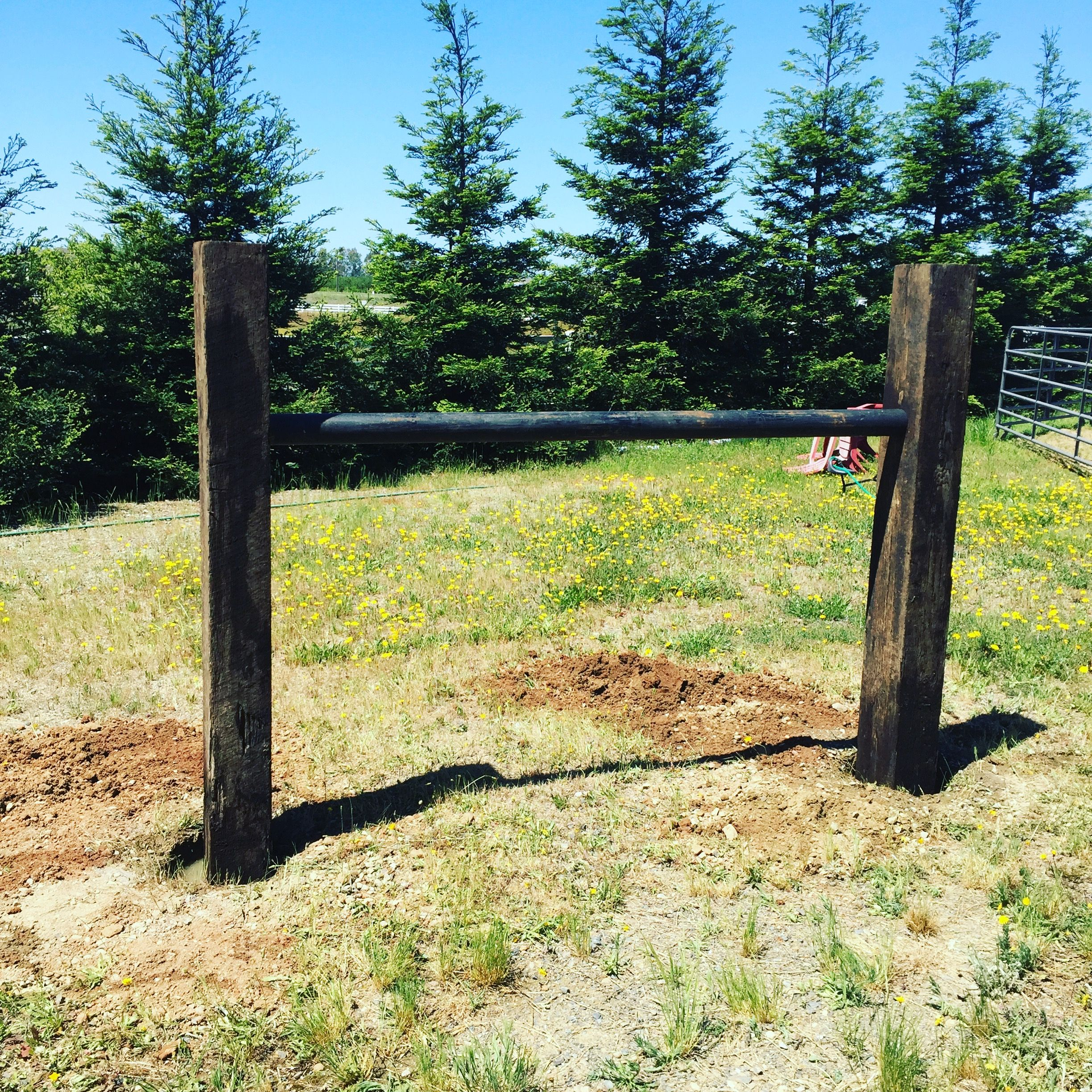 Hitching post made of Railroad ties and steel pipe. Horses can\'t ...