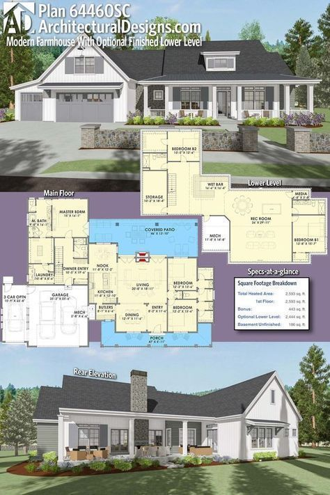 Plan 64460sc Country Farmhouse With Exterior Options And Optional Finished Lower Level In 2020 House Plans Farmhouse Modern Farmhouse Plans Basement House Plans