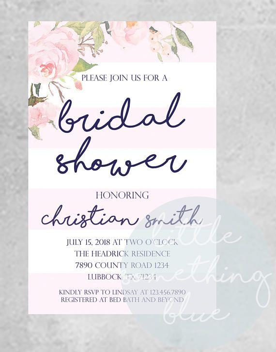 Floral \ Stripe Bridal Shower Invitation Template \/\/ Pink and - bridal shower invitation templates