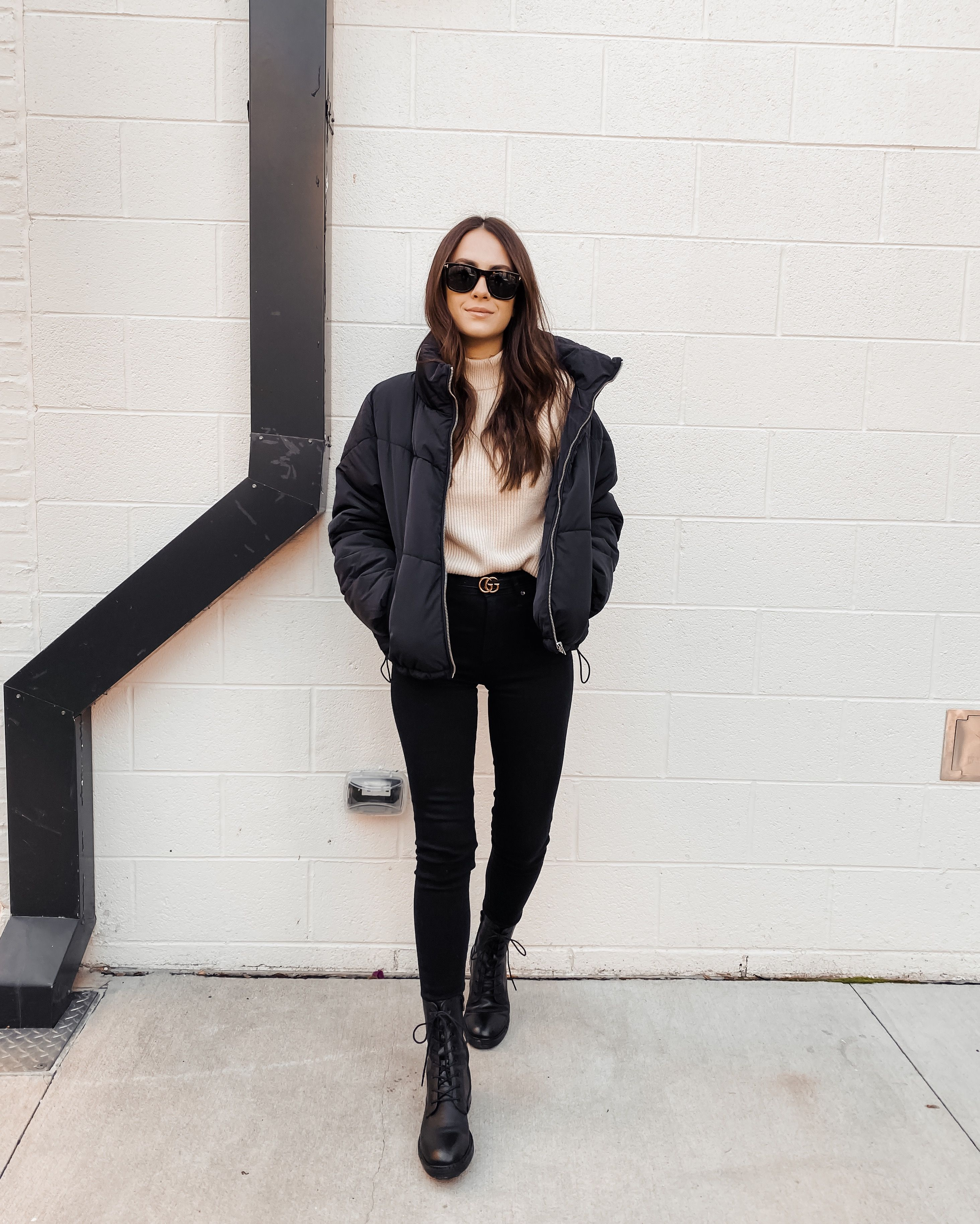 Fall Winter Street Style Winter Jacket Outfits Jacket Outfit Women Puffer Jacket Outfit [ 3656 x 2927 Pixel ]