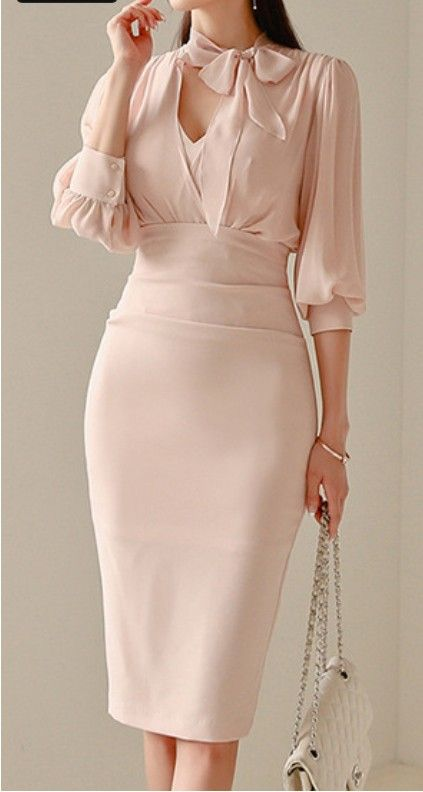 $149.90 Light Pink Tight Midi Dress With Sleeves