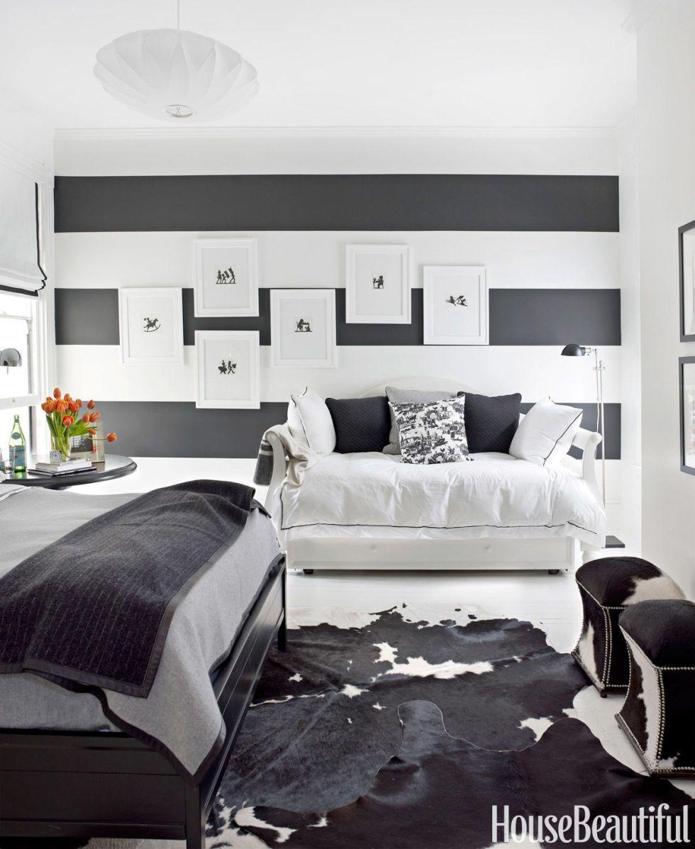 Schwarze Und Weiße Gestreifte Schlafzimmer Ideen #Schlafzimmer Komplett