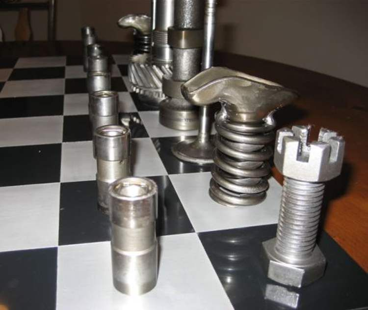 projects ideas metal chess pieces. Chess Sets made from Recycled Materials  wordlessTech pieces and