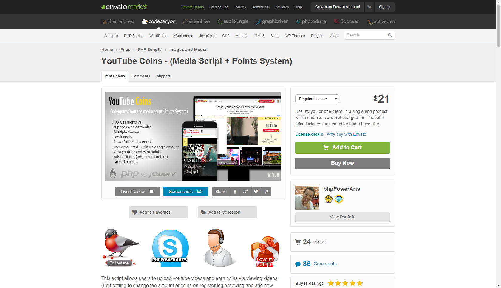 YouTube Coins - (Media Script + Points System) | Create