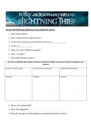 English teaching worksheets: Percy Jackson