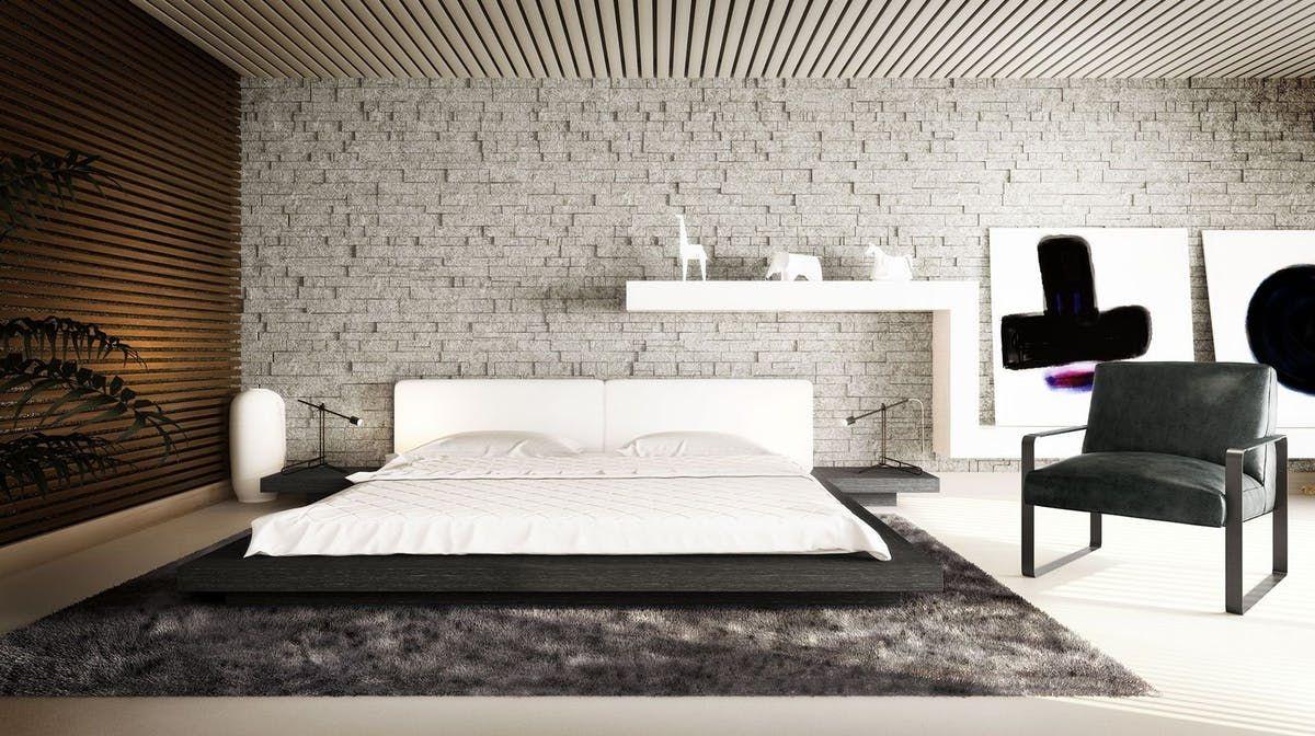 Modloft Worth Queen Bed Leather platform bed, Modern