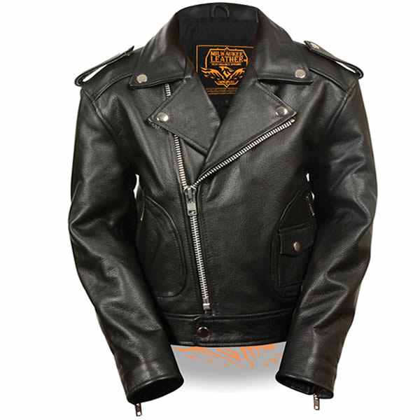 Milwaukee Classic Motorcycle Childrens Leather Biker Jacket Black Leather Biker Jacket Black Leather Motorcycle Jacket Leather Jacket