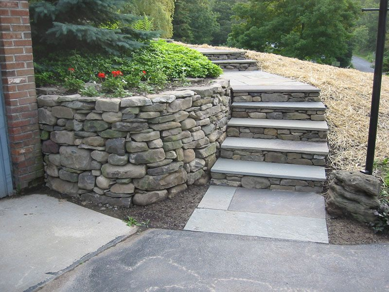 Stone Wall And Flagstone Steps Finished