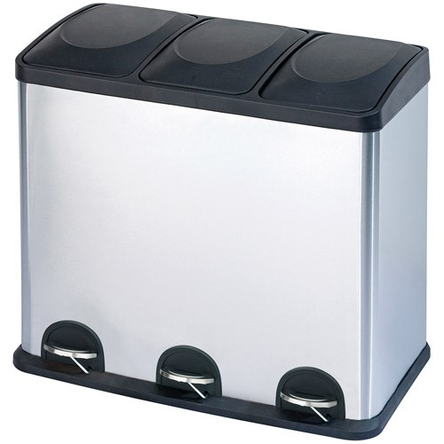 Step N Sort 12 Gallon 3 Compartment Stainless Steel Trash And