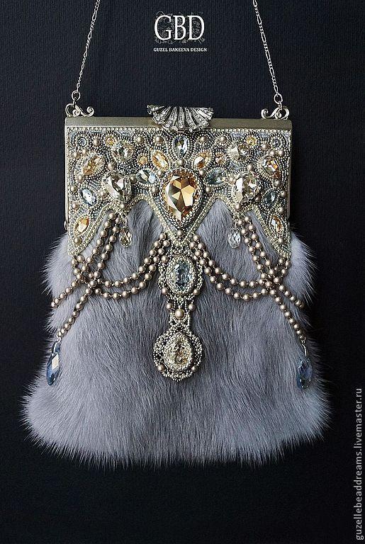dee2f0c57aa4 Купить Сумочка театральная - серебряный, орнамент, голубой цвет, голубой,  сумочка с мехом, меховая сумочка