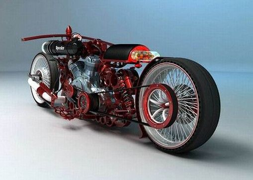 This is the work of Russian designer Mikhail Smolyanov Solif. Drag style motorcycle concept.
