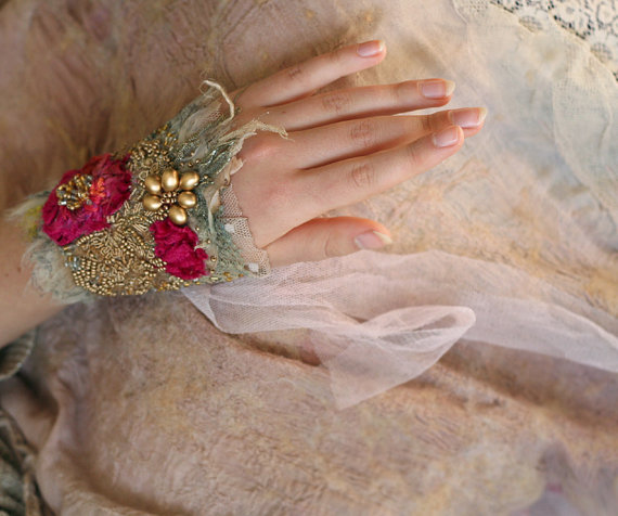 romantic bold wrist wrap from vintage and antique by FleurBonheur, $124.00