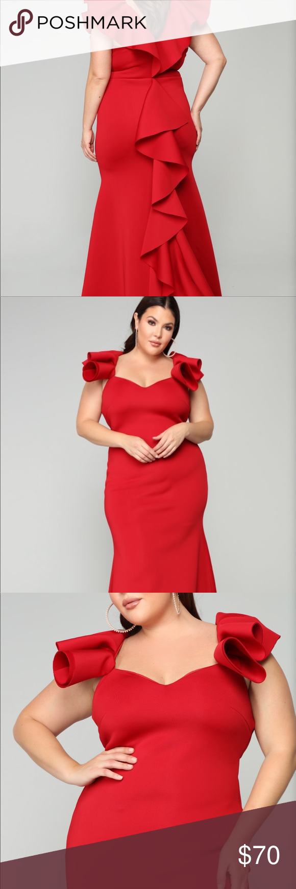 1236bb3f6 Salty Babe Mermaid Dress - Red Fashion Nova Curve Off Shoulder, Ruffle  Detail On The Back, Mermaid Fit 95% Polyester 5% Spandex, Lining 100%  Polyester ...