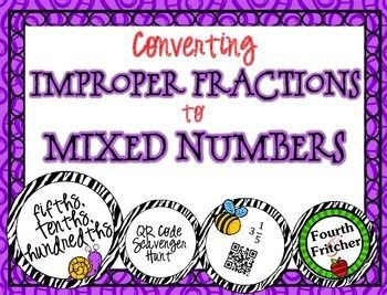 This product contains a scavenger hunt that students will use to practice and reinforce converting improper fractions to mixed numbers. These problems emphasize fifths, tenths, and hundredths.Students will work their way around the room using QR Codes!