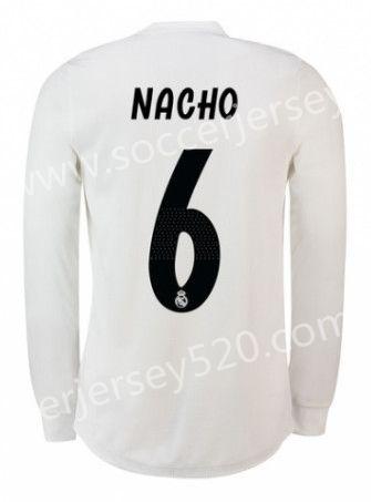 454e51f91 2018-19 Real Madrid Home White  6 (NACHO) Thailand LS Soccer Jersey ...