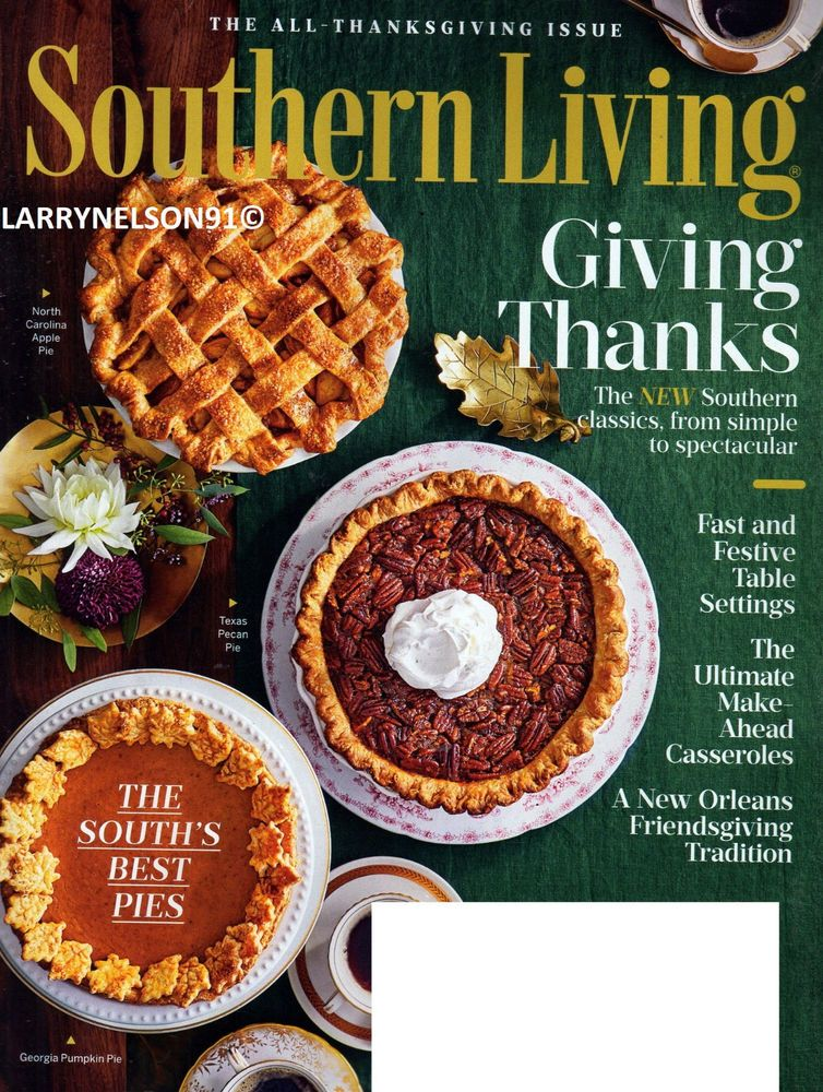 SOUTHERN LIVING MAGAZINE NOVEMBER 2018 THANKSGIVING CLASSIC