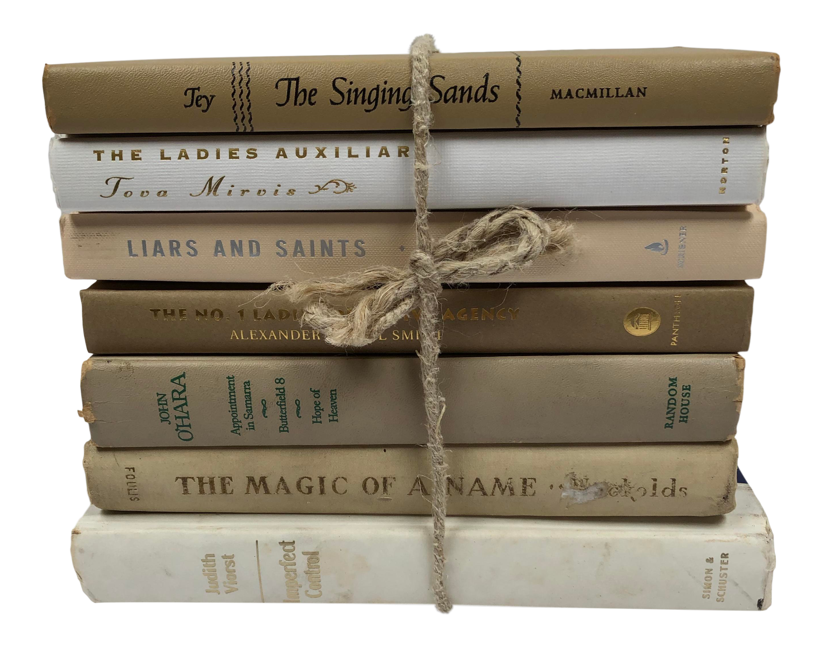 Vintage Cream Tan Neutral Book Stack Set Of 7 On Chairish Com Vintage Book Decor Stack Of Books Book Decor