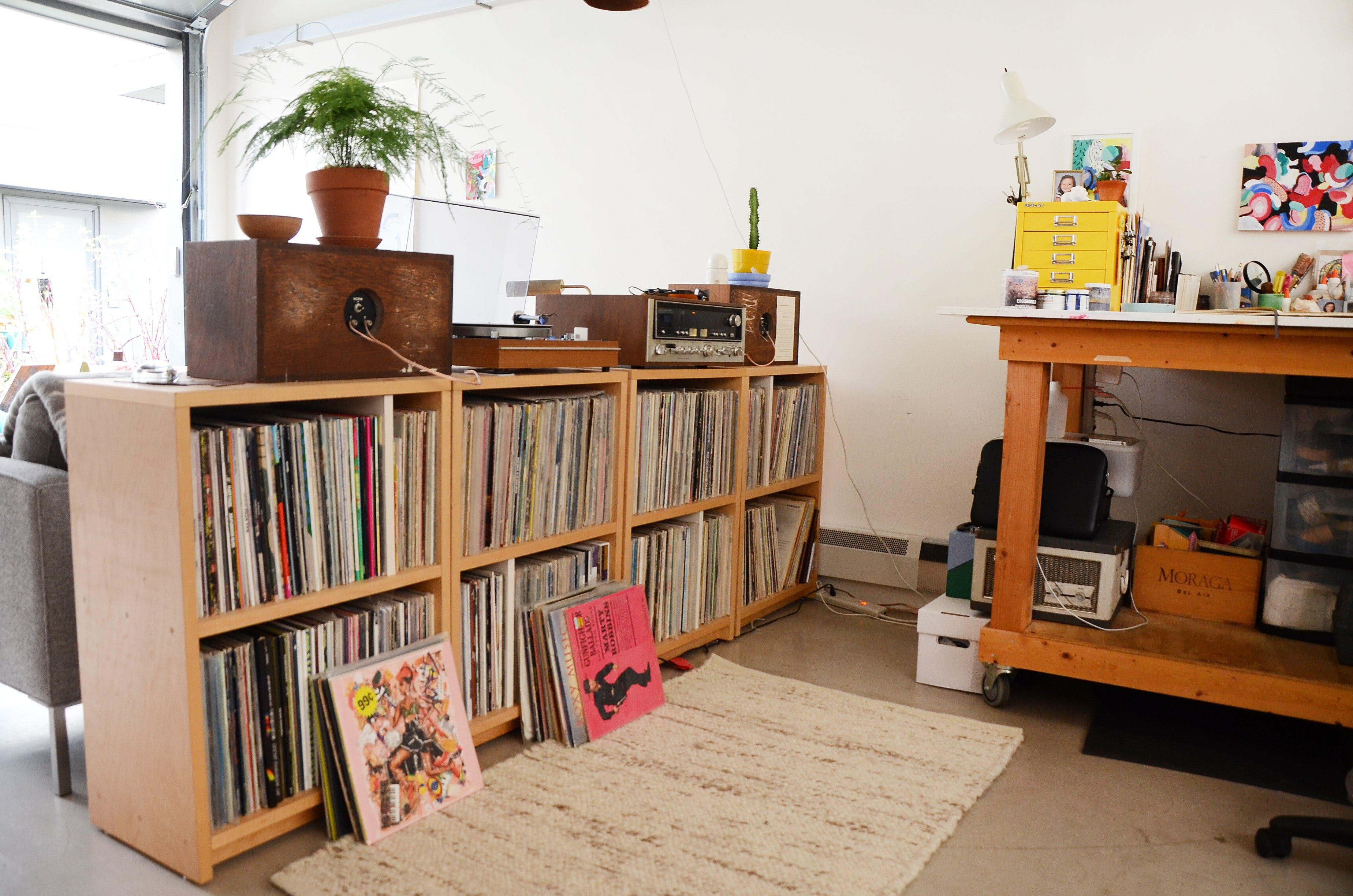 diy record storage shelves