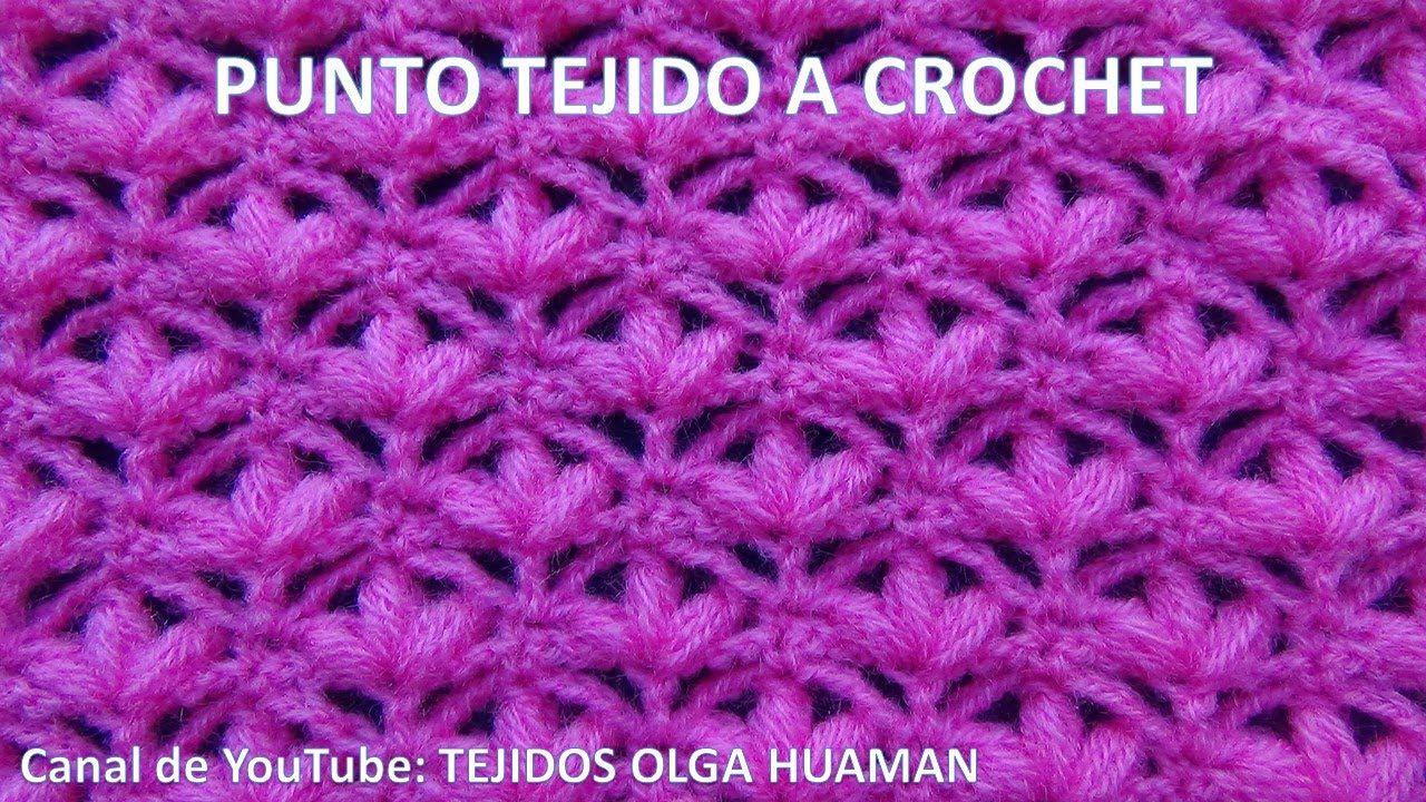 Punto tejido a crochet o ganchillo para mantitas de bebe - Mantas de ganchillo faciles ...
