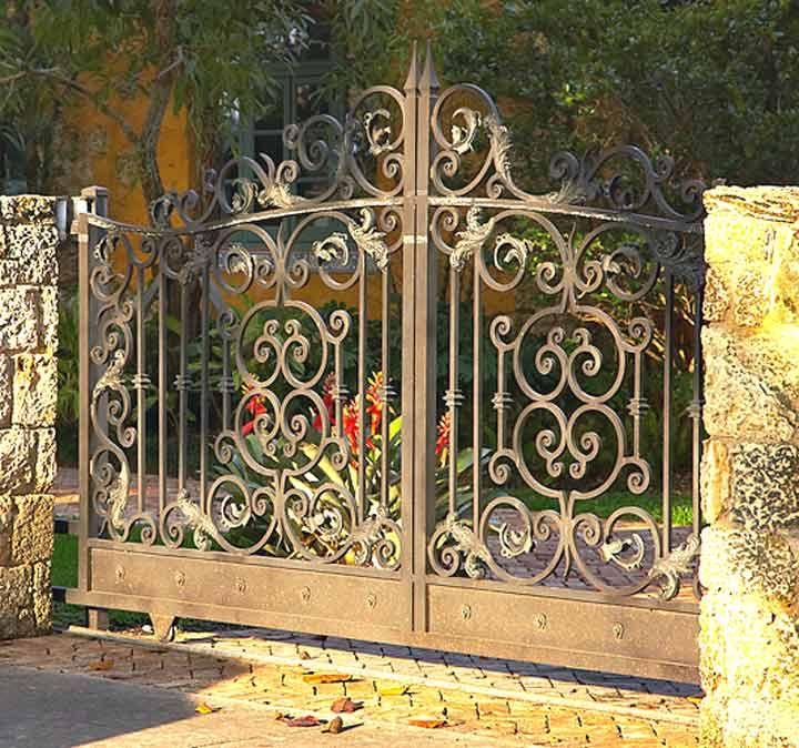 wrought iron gate in garden - Entry Gate - Castle Leslie 19th Cen Italian Renaissance Portals