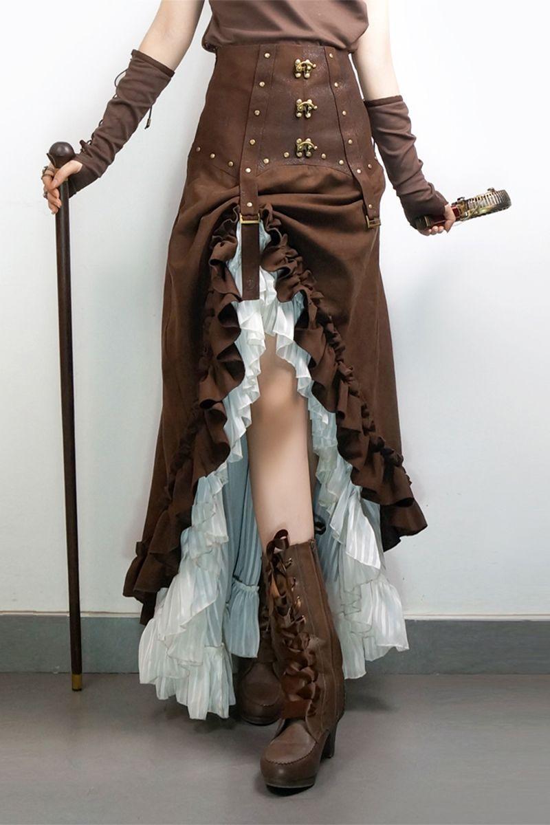 Steampunk Victoria Ciffon High-waist Skirt by Mr Yis Steamland Release   Punk Fashion   Punk skirt