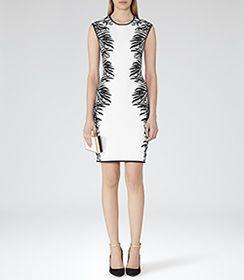 Emeline White/black Floral-jacquard Dress - REISS