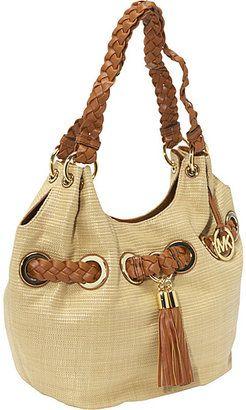 451c11484ac1 ShopStyle: MICHAEL Michael Kors Braided Grommet Lg Shoulder Bag- Soft Straw
