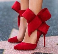 Wish | 2015 Lady Evening Spring Royal Footwear Red Black Big Bow Tie Pumps Pointed Plus Size Summer High Heel Shoes