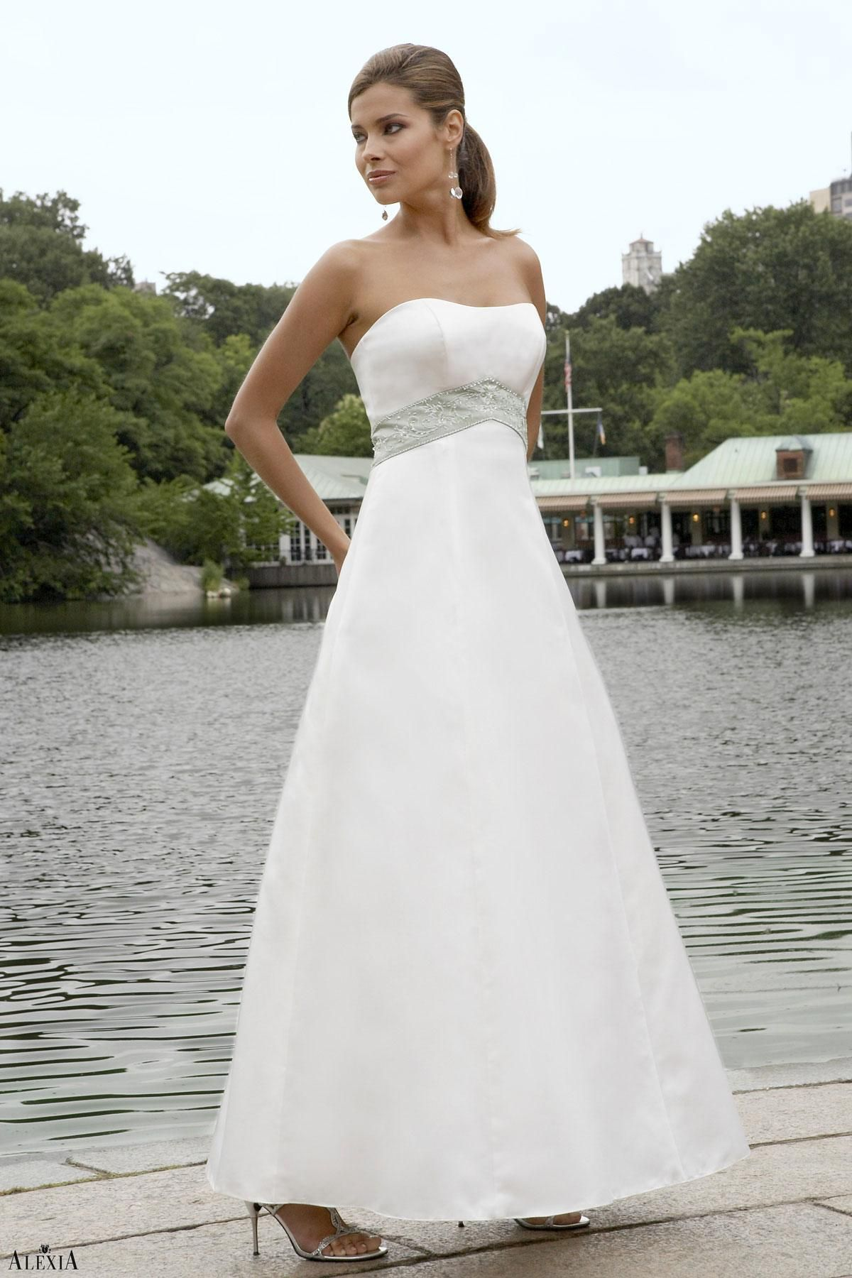 Color embroidered wedding dress  Matte satin aline bridesmaids gown with beaded and embroidered band