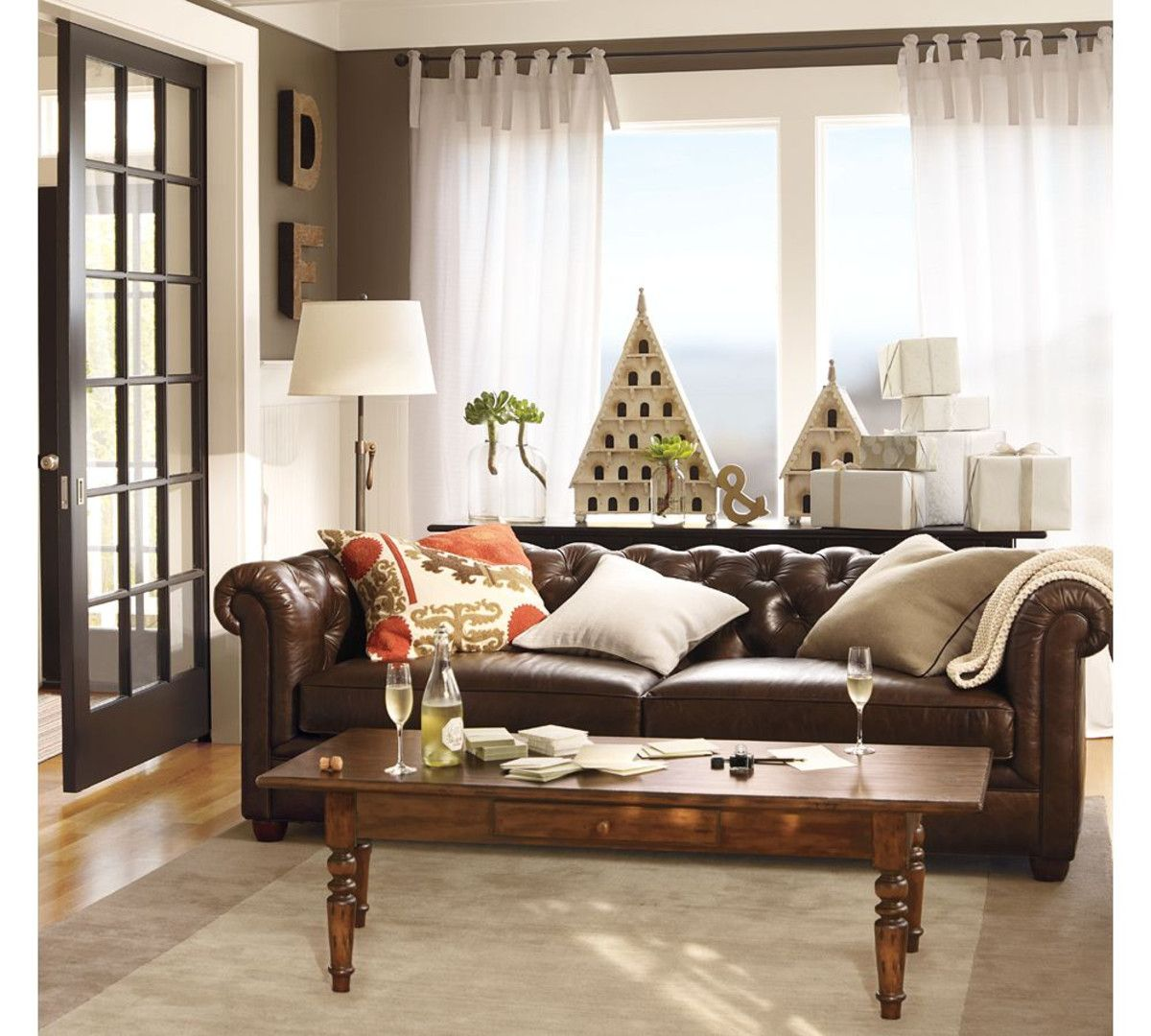 Best Chesterfield Leather Sofa Brown Living Room Curtains 640 x 480