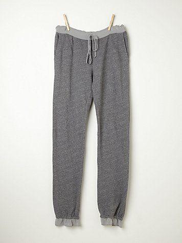 Fleece Pants With Silk Trim  http://www.freepeople.com/intimates-all-intimates/fleece-pants-with-silk-trim/