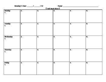Bell Work Sheet Bell Ringer Sheet Do Now Sheet Assessment