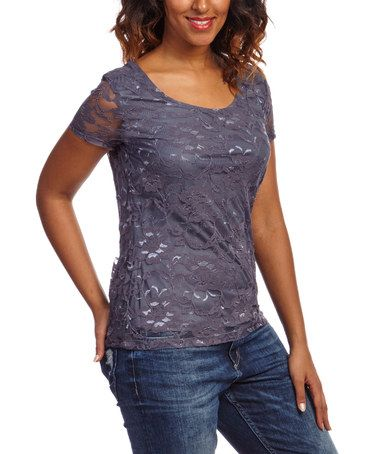 Another great find on #zulily! Gunmetal Floral Lace Scoop Neck Top #zulilyfinds