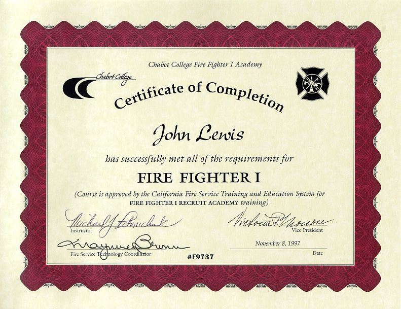 11+ Firefighter Certificate Templates | Free Printable Word & PDF