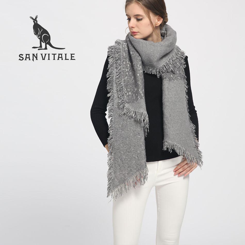 a2e979d5e6f6 SAN VITALE Frauen Schals Winter Warm Schal Luxury Brand Weichen Arbeiten  Plaid Verdicken Wraps Wolle Cashmere